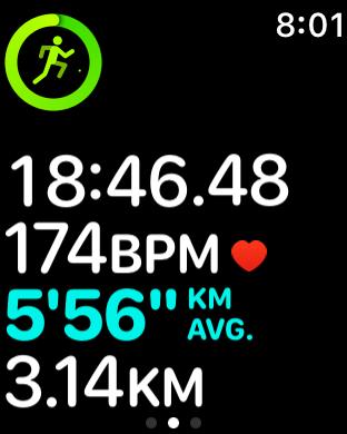 Apple Workout run in progress